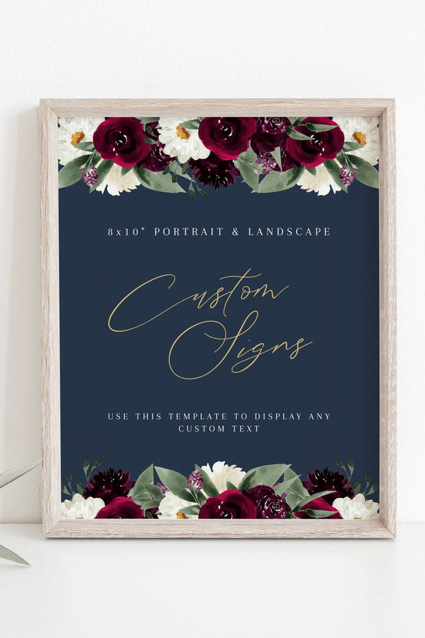 "Rosa - Bordeaux Floral Custom 8x10"" Sign Template"