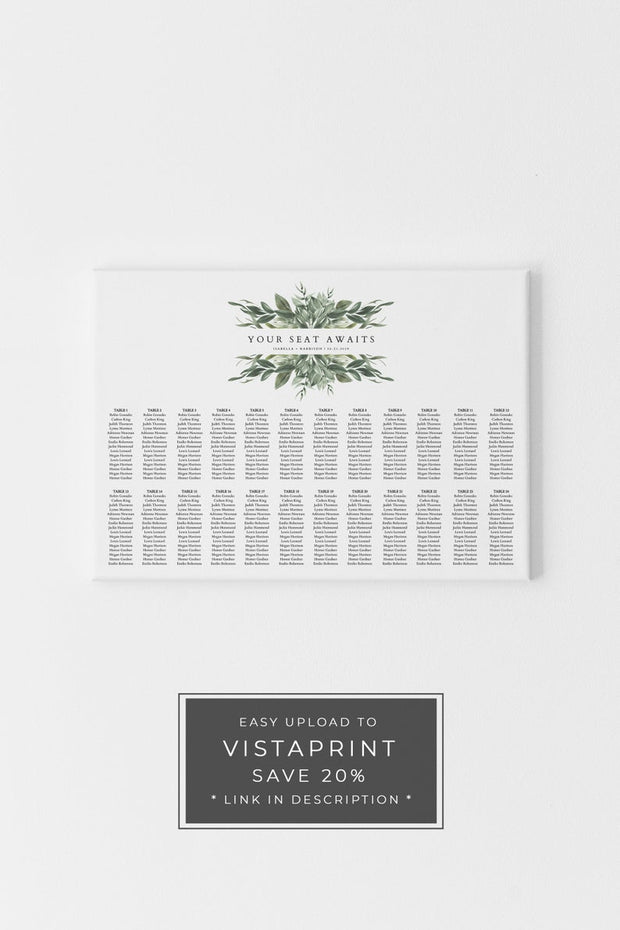 Lana - Modern Greenery Landscape Table Seating Chart Template - Unmeasured Events