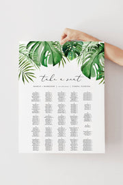 Cora - Modern Palm Tropical Alphabetical Seating Chart Template - Unmeasured Events