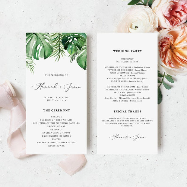 Cora - Modern Palm Tropical Wedding Program Template - Unmeasured Events