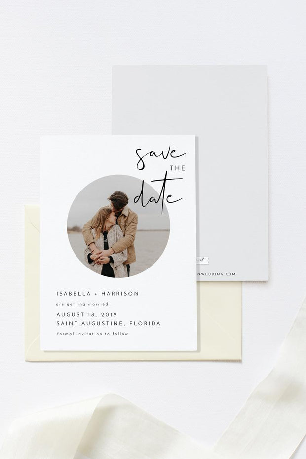 Adella - Modern Minimalist Photo Save the Date Template