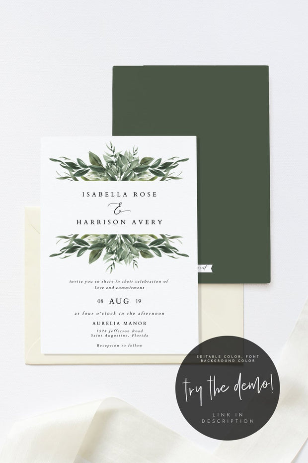Lana - Modern Greenery Wedding Invitation Template - Unmeasured Events
