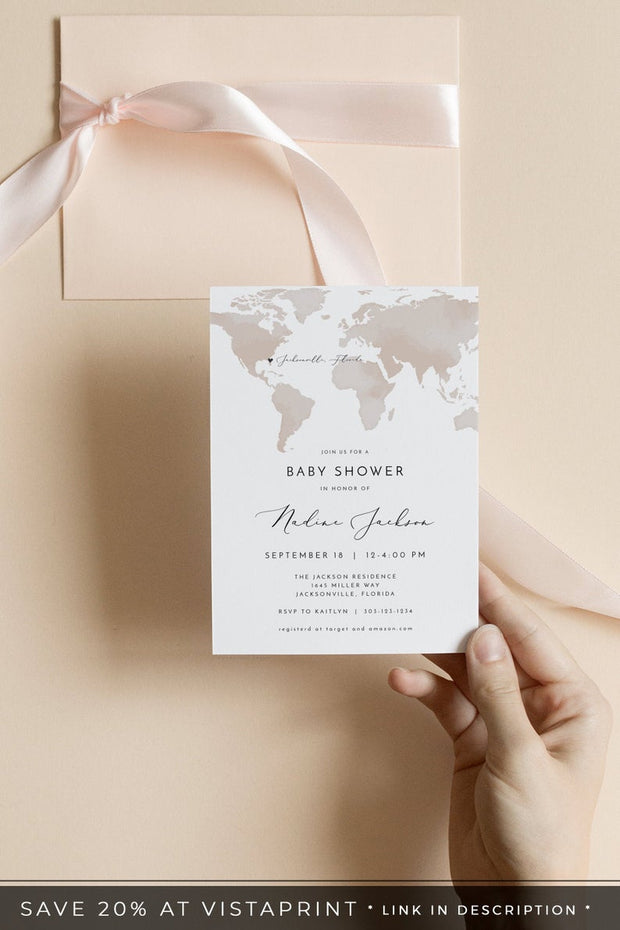 Carmen - Watercolor Map Baby Shower Invitation Template - Unmeasured Events