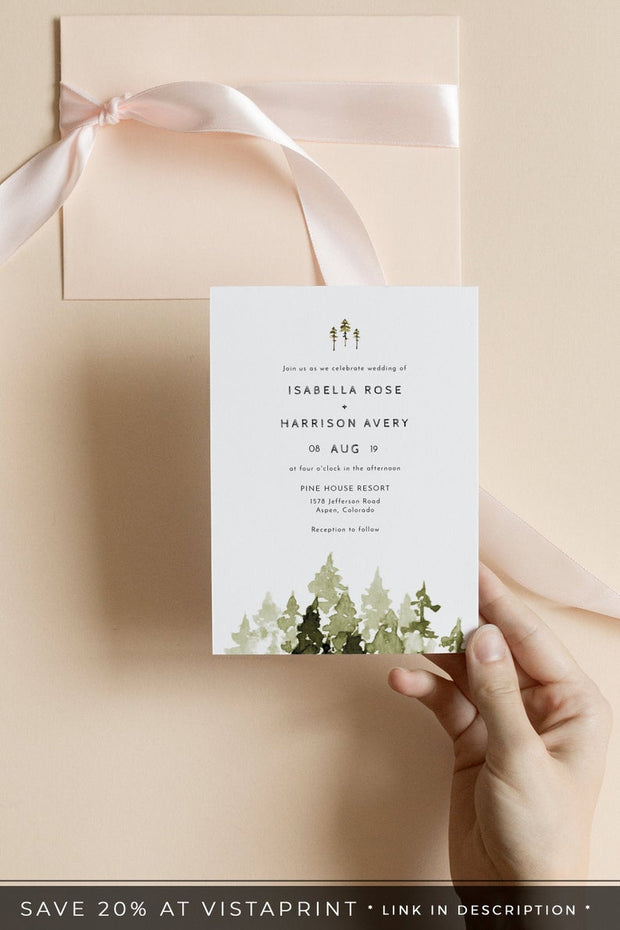 JENNA | Rustic Pine Tree Wedding Invitation Template