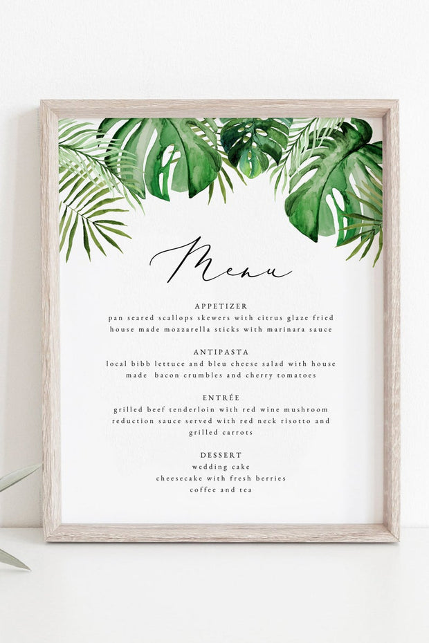 Cora - Modern Palm Tropical 8x10 Menu Template - Unmeasured Events