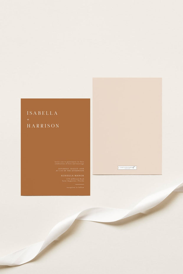 Mia - Burnt Orange Minimal Wedding Invitation Template
