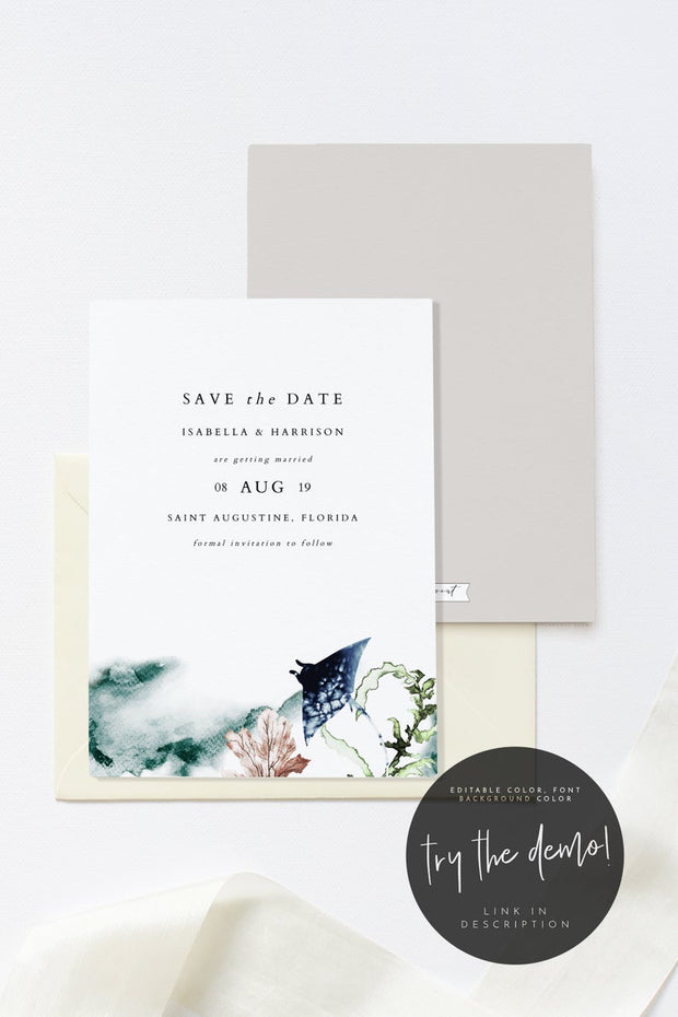 Ariel - Ocean Tropical Wedding Save the Date Template - Unmeasured Events