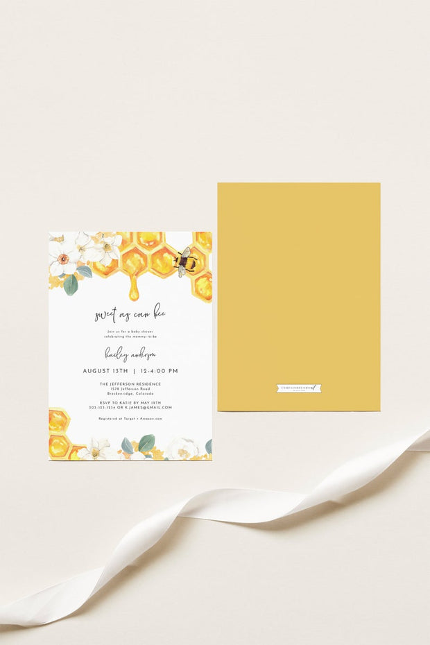 Romy - Floral Honey Bee Baby Shower Invitation Template - Unmeasured Events