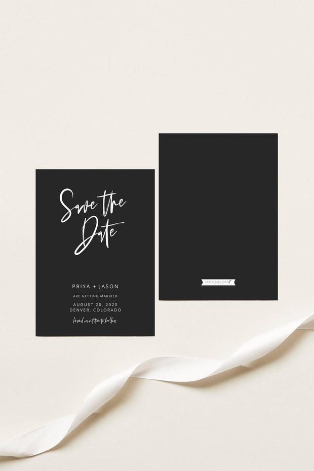 Priya - Black Contemporary Wedding Save the Date Template Instant Download