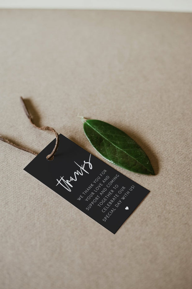 Priya - Black Contemporary Wedding Favor Tag Template - Unmeasured Events