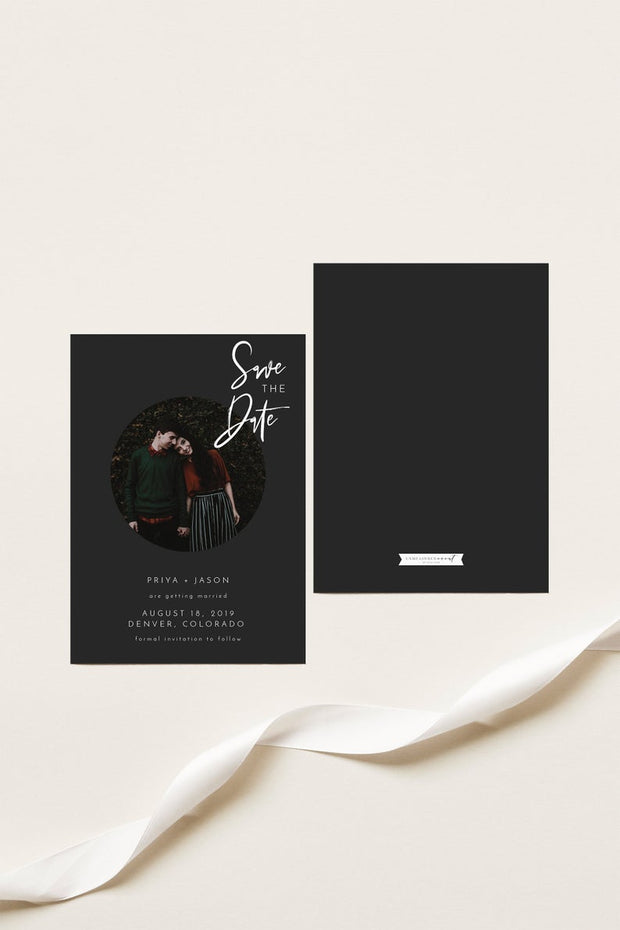 Priya - Black Contemporary Wedding Photo Save the Date Template - Unmeasured Events