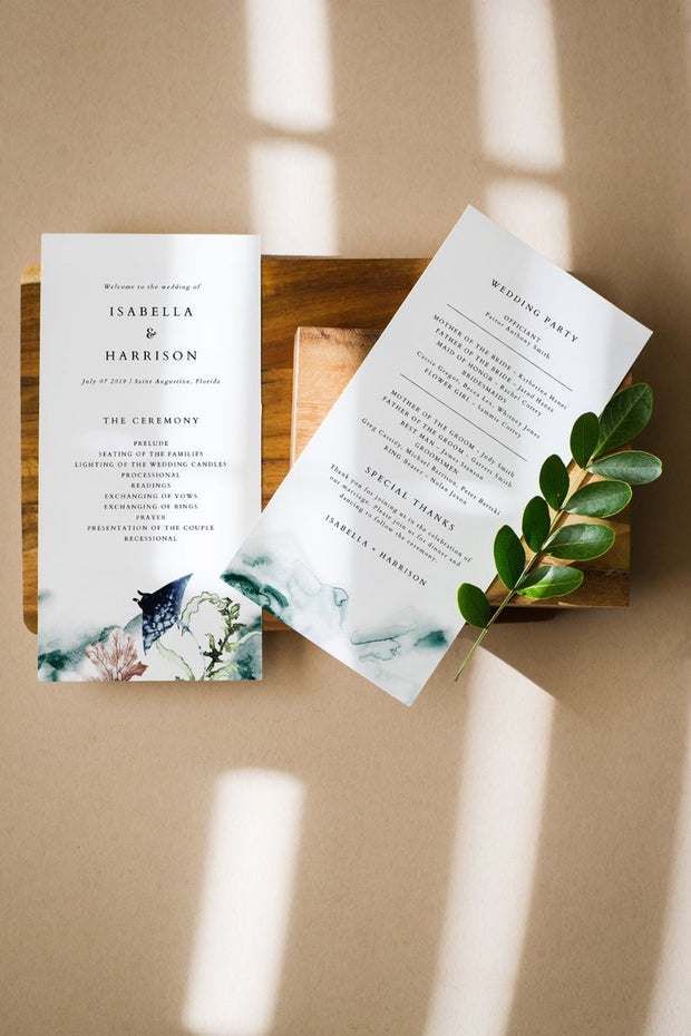 Ariel - Ocean Tropical Wedding Invitation Template Bundle