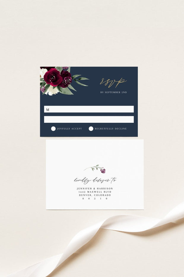 Rosa - Bordeaux Floral Wedding Invitation Template Suite