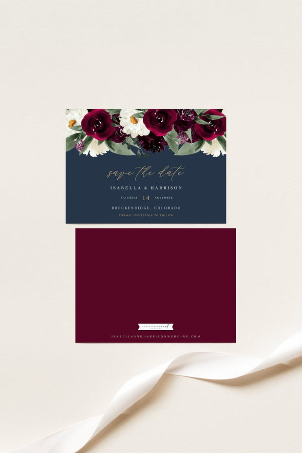 Rosa - Bordeaux Floral Wedding Save the Date Template