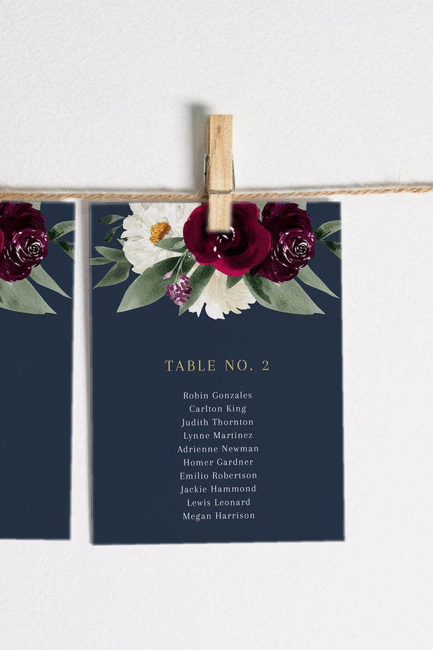 Rosa - Bordeaux Floral Wedding Seating Chart Cards Templates - Unmeasured Events