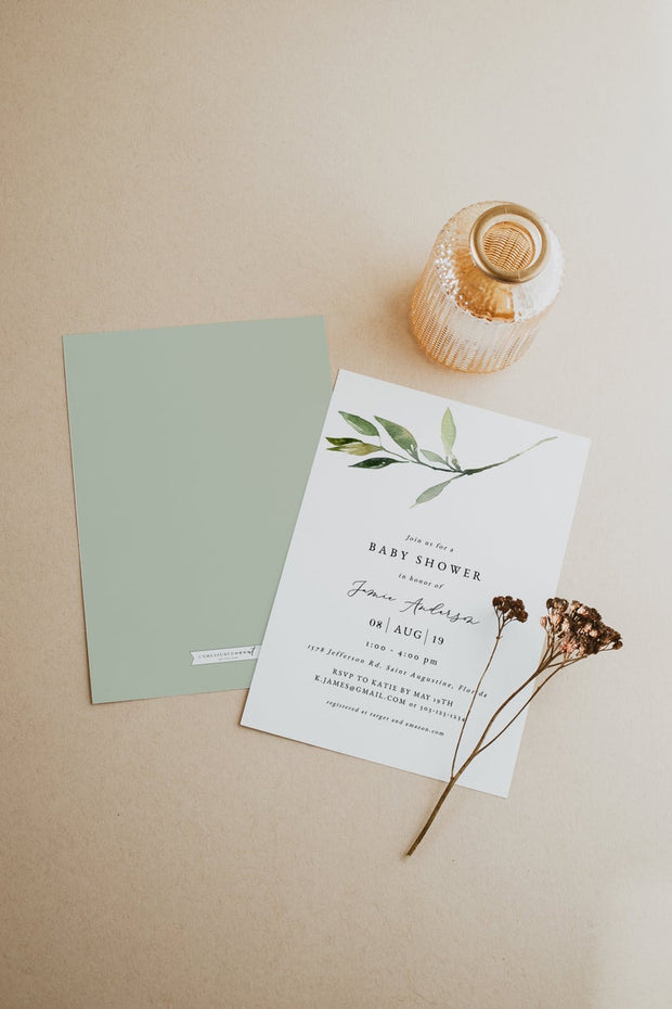 Isabella - Minimal Greenery Baby Shower Invitation Template - Unmeasured Events