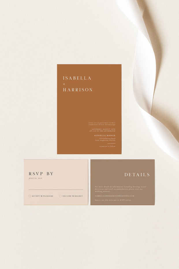 Mia - Burnt Orange Wedding Invitation Suite Templates - Unmeasured Events