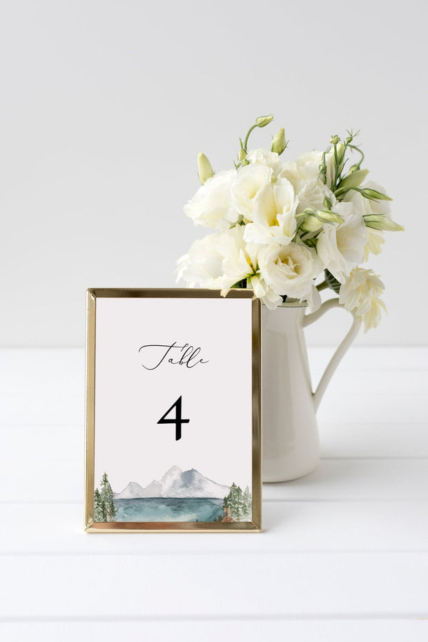 Clover - Mountain Lake Wedding Table Number Template - Unmeasured Events