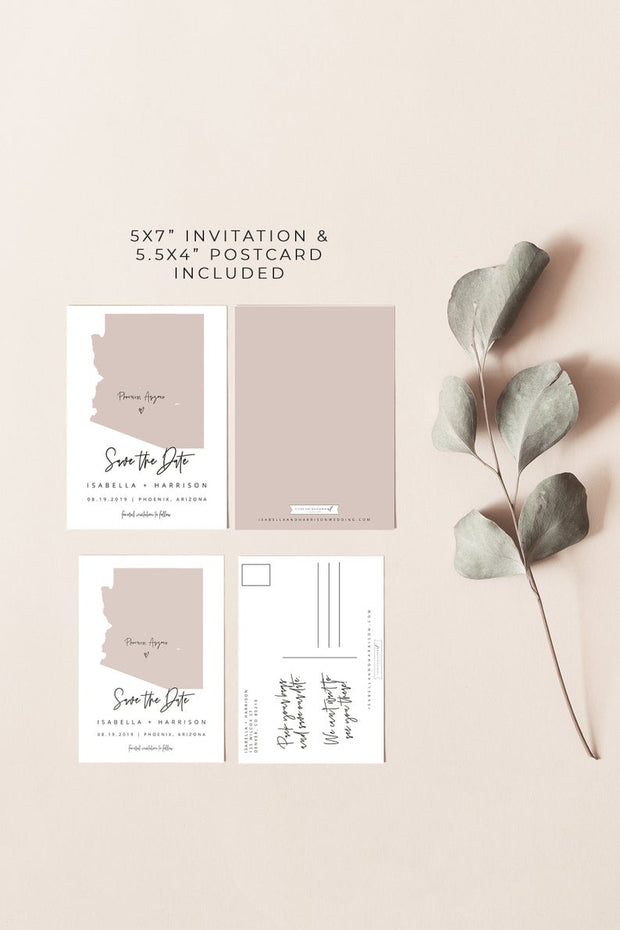 Quinn - Rose Gold Arizona Map Postcard Save the Date Template - Unmeasured Events