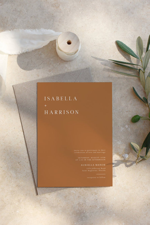 Mia - Burnt Orange Minimal Wedding Invitation Template - Unmeasured Events