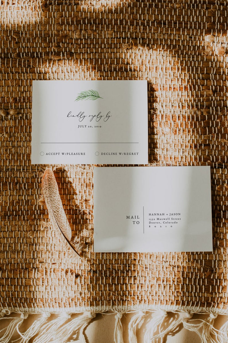 CORA | Modern Palm Tropical Wedding Invitation 3 Piece Suite Templates