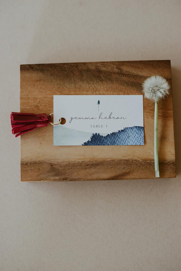 ZURI | Slate Blue Watercolor Mountain Wedding Place Card Template
