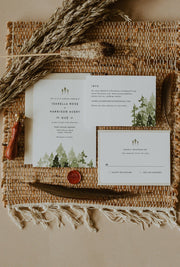 Jenna - Rustic Pine Tree Wedding Invitation Template Suite Printable - Unmeasured Events