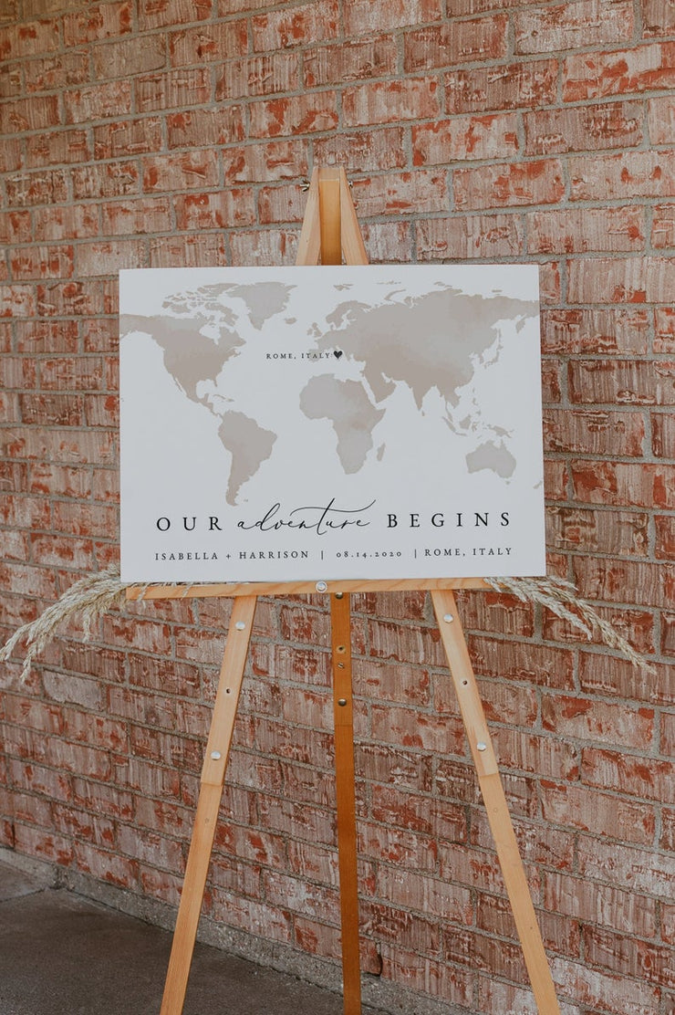 Carmen - Watercolor Map Destination Wedding Welcome Sign Template - Unmeasured Events