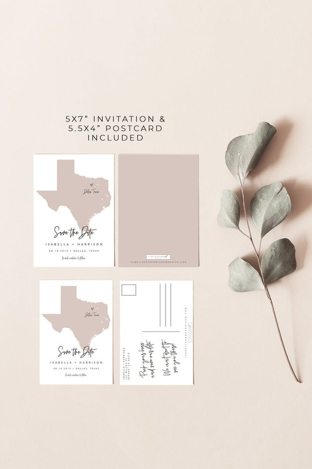 Quinn - Rose Gold Texas Map Postcard Save the Date Template - Unmeasured Events