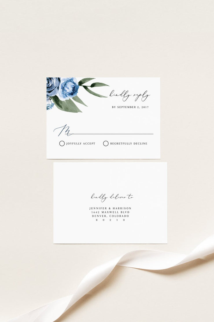 Milena - Dusty Blue Floral Wedding Invitation Template Suite