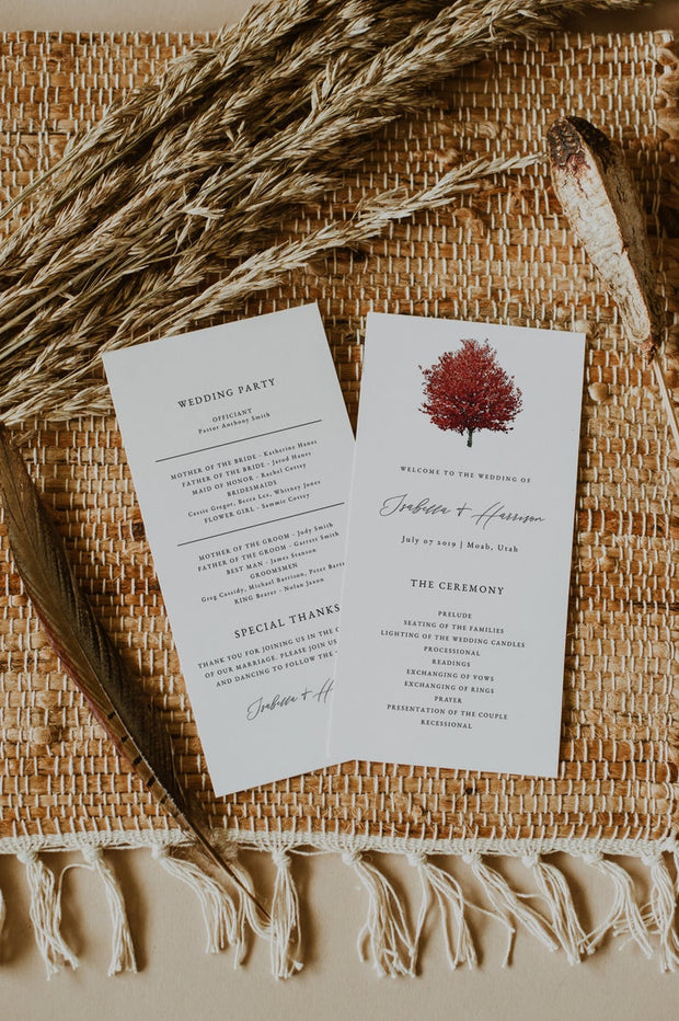 Wren - Red Maple Tree Wedding Invitation Template Bundle