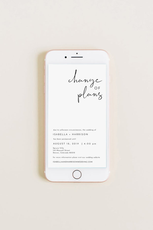 ADELLA |  Modern Minimalist Wedding Reschedule Announcement Text Template