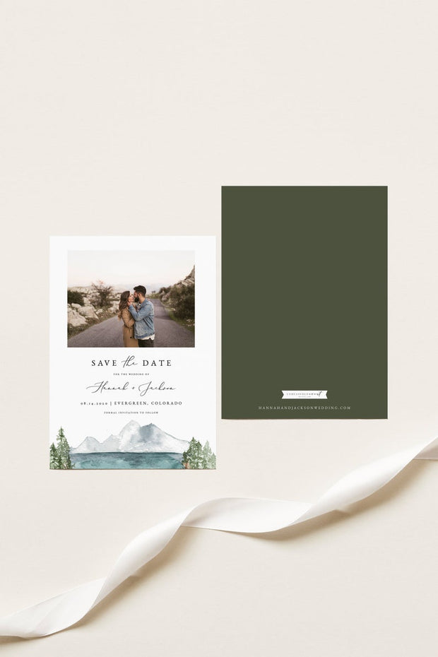 Clover - Mountain Lake Wedding Photo Save the Date Template - Unmeasured Events