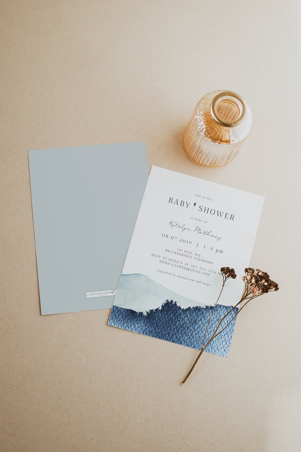 ZURI | Slate Blue Watercolor Mountain Baby Shower Invitation Template
