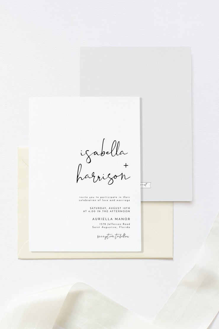 Adella - Modern Minimalist Pocket Fold Wedding Invitation Template Suite - Unmeasured Events