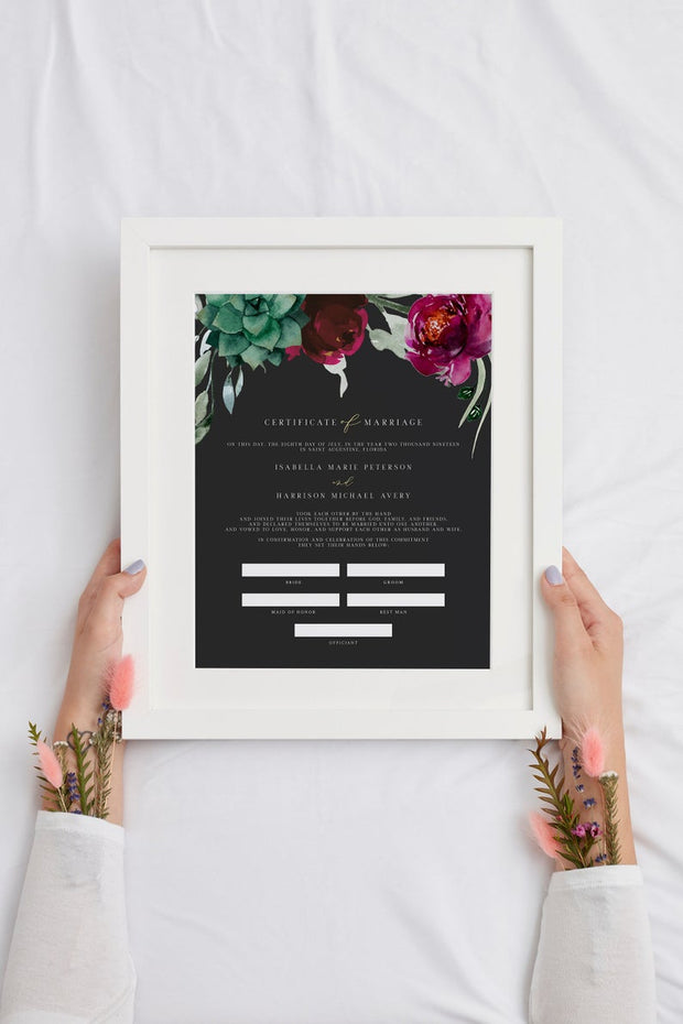 Amy - Burgundy Floral and Succulent Wedding Marriage Certificate Template