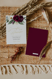 Rosa - Burgundy Floral Wedding Invitation Template 3 Piece Suite - Unmeasured Events
