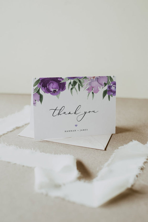 Lilah - Purple Floral Wedding Invitation Template Bundle - Unmeasured Events