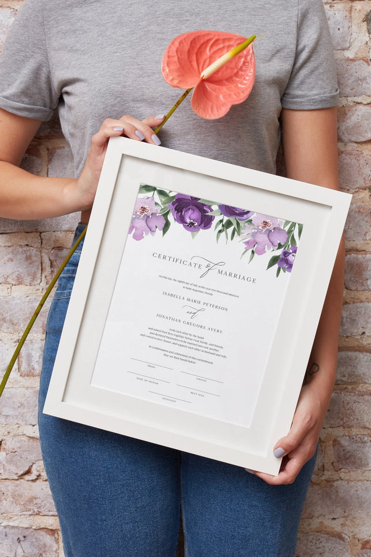 Lilah - Purple Floral Wedding Marriage Certificate Template - Unmeasured Events