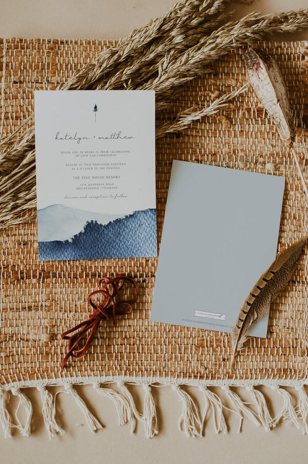 Zuri - Slate Blue Mountain Wedding Invitation Template 3 Piece Suite