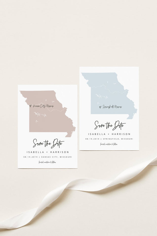 Quinn - Rose Gold Missouri Map Postcard Save the Date Template - Unmeasured Events