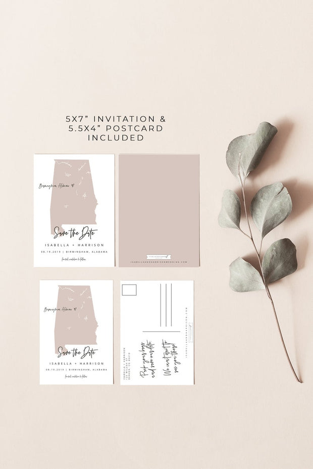 Quinn - Rose Gold Alabama Map Postcard Save the Date Template - Unmeasured Events