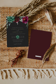 Amy Burgundy Floral and Succulent Wedding Invitation Template Suite - Unmeasured Events