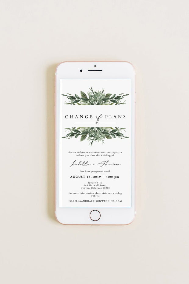 Lana - Bohemian Greenery Wedding Reschedule Text Announcement Template