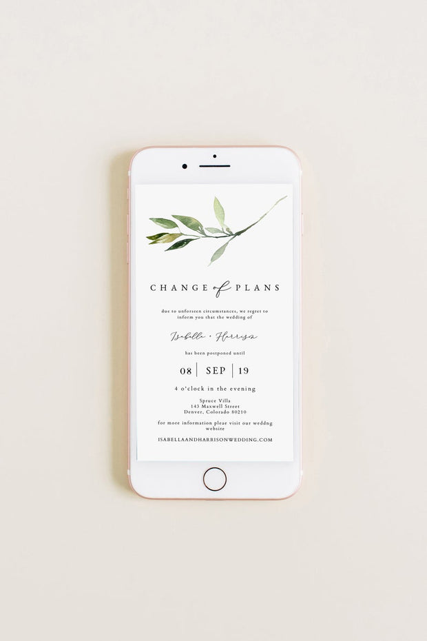 Isabella - Minimal Greenery Wedding Reschedule Announcement Text Template