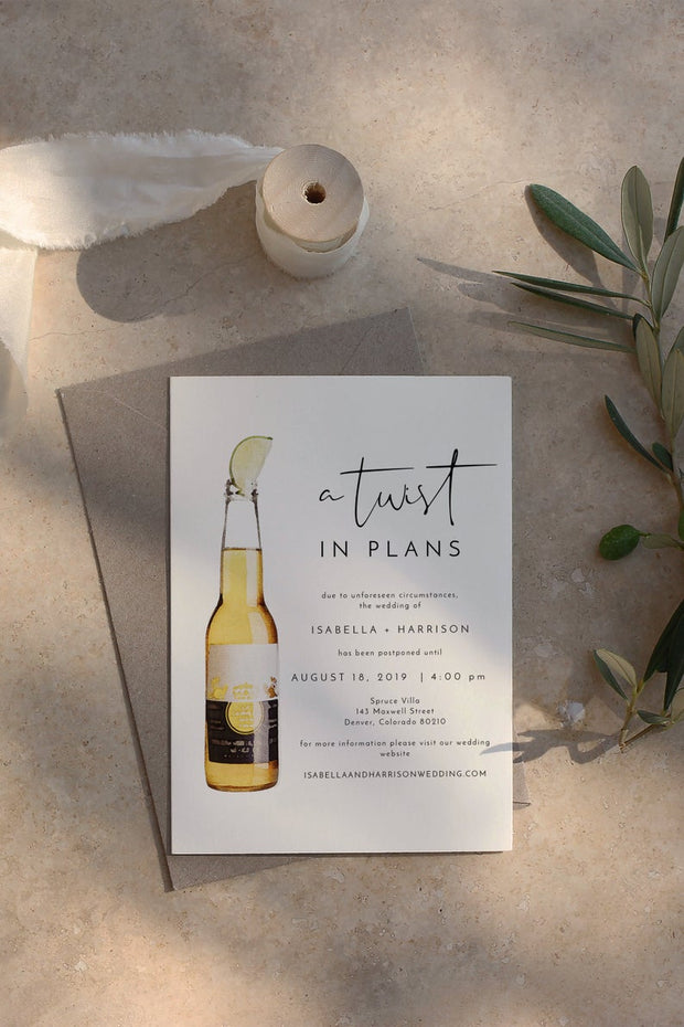 ADELLA | Funny Watercolor Beer Twist In Plans Change of Plans Announcement Template