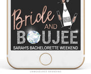 Genna - Rose Gold Bride and Boujee Bachelorette Snapchat Filter Template - Unmeasured Events