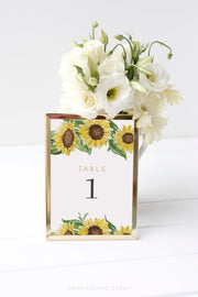 Emma - Rustic Sunflower Wedding Table Number Template - Unmeasured Events