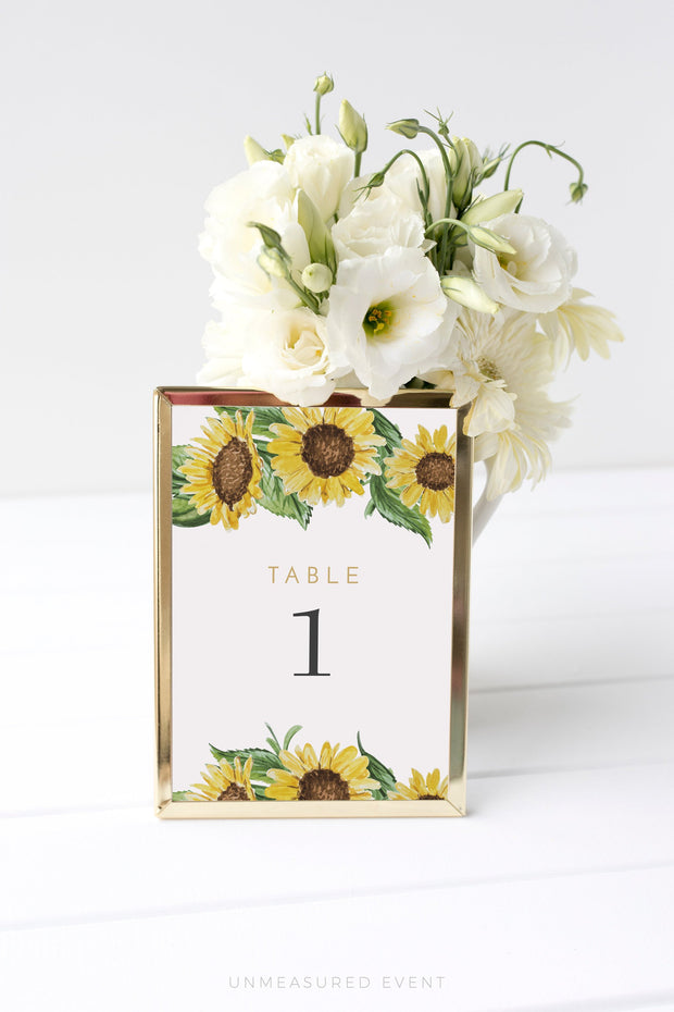Emma - Rustic Sunflower Wedding Table Number Template