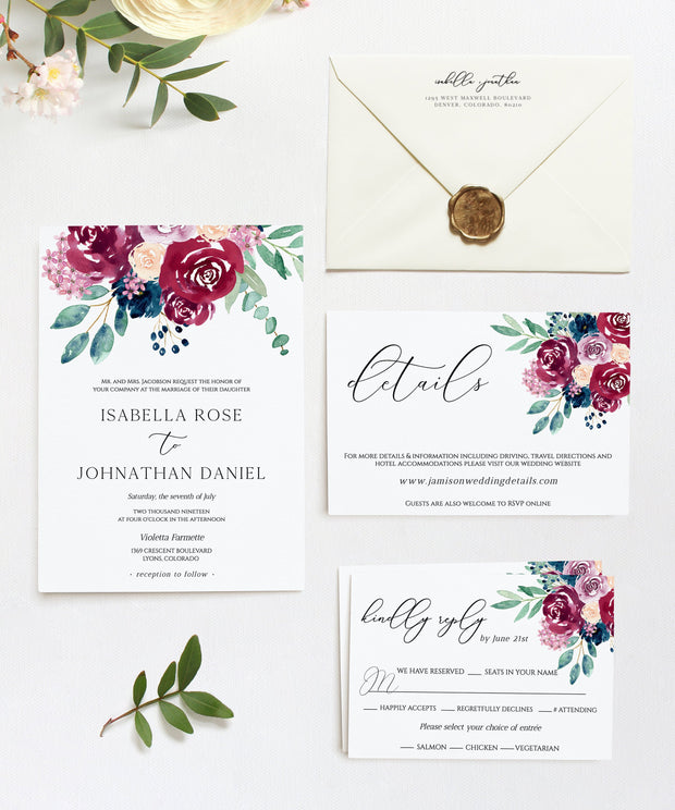Bella - Marsala Floral Wedding Invitation Template Suite - Unmeasured Events